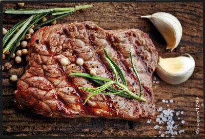Gerilltest und gemoketes Rinder Steak